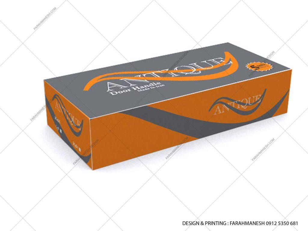 طراحی و چاپ کارتن (جعبه) دستگیره درب آنتیک